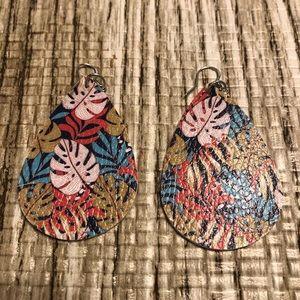 Tropical Leaf Leather Earrings